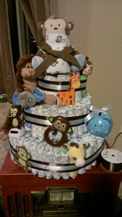 Monkey diaper cake for a boy monkey baby shower pinterest boys diapers and cakes - Monkey baby shower cakes for boys ...