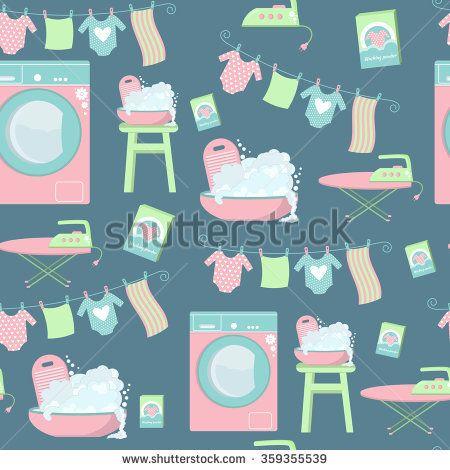 Seamless laundry pattern. Set of laundry symbols: washing machine, laundry drying on a washing lines, basin, washing powder, iron and ironing board.