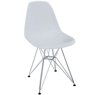 @Overstock.com - White Plastic Side Chair with Wire Base  - This molded plastic chair is both flexible and comfortable. Suitable for indoors or out, this versatile chair is a great addition to any home decor statement.   http://www.overstock.com/Home-Garden/White-Plastic-Side-Chair-with-Wire-Base/6673577/product.html?CID=214117 $139.99
