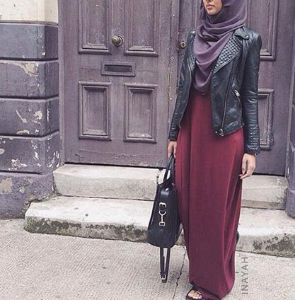 Long Basic Deep Red Dress + Charcoal Soft Georgette Hijab  | INAYAH www.inayahcollection.com