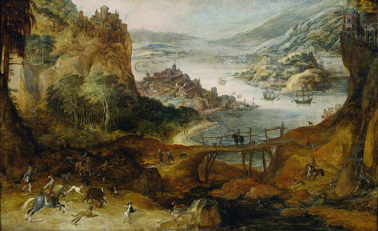 Joos de Momper (II) – Rijksmuseum SK-A-3949. Rivierlandschap met everzwijnjacht (c. 1590 – c. 1635)