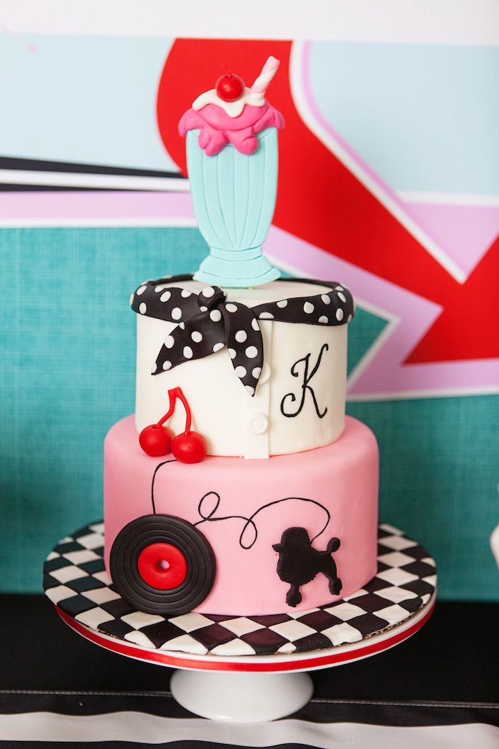 3-tier cake from Retro Soda Shoppe Birthday Party from Kara's Party Ideas. Visit karaspartyideas.com for more!