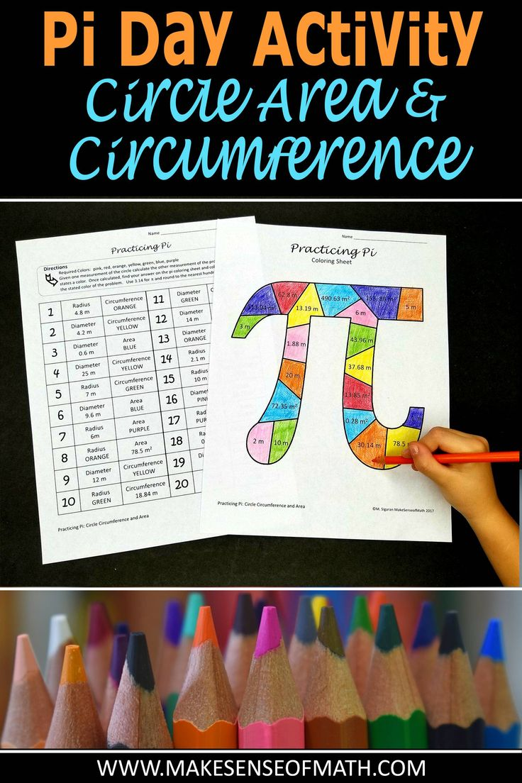 Perfect activity to engage your middle school math students on pi day. Students practice circle circumference and area in this fun coloring activity. Click on to see more.