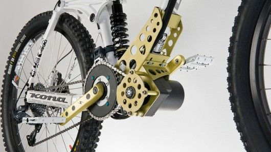 The EGO-Kit is an electric motor that can be added to downhill mountain bikes for powering them up to the tops of mountains.