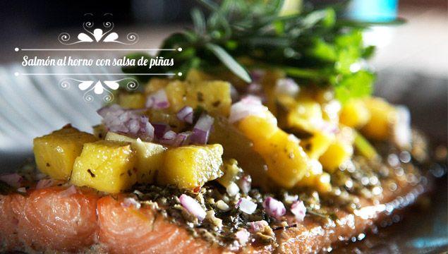 Salm n al horno con salsa de pi a y chile de rbol chef - Arbol de pina ...