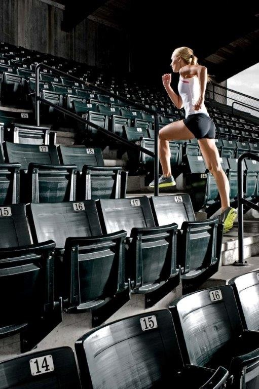 Sports and Lifestyle Photographer Ian Coble, Fitness Photography, Running up Stadium Stairs