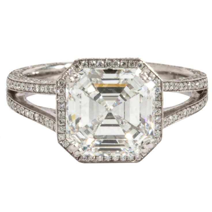 GIA 3.03 carat H Vs1 Asscher Cut Diamond and Platinum Engagement Ring | From a unique collection of vintage engagement rings at http://www.1stdibs.com/jewelry/rings/engagement-rings/
