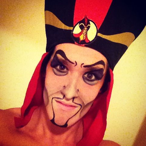 I also do stage make up. If you haven't guessed, this is Jafar. Halloween, 2013.