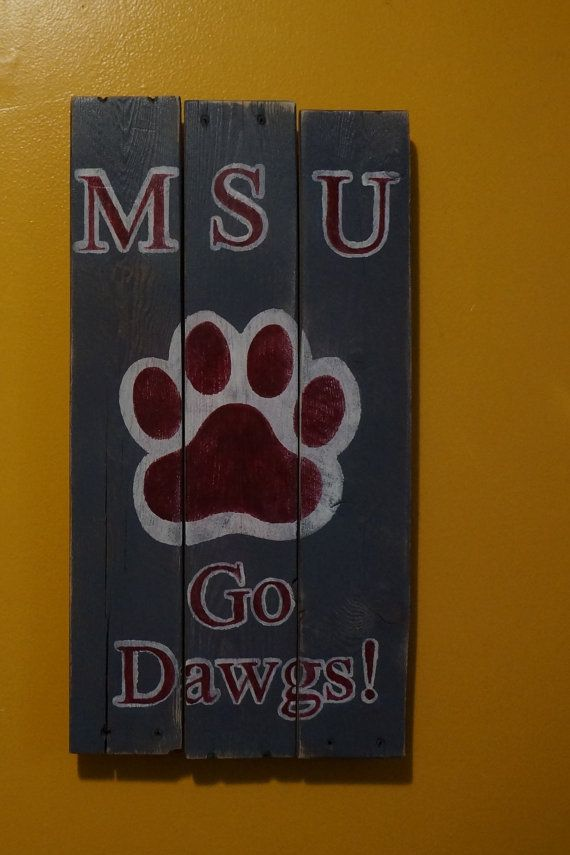 Mississippi State pallet art by PurplePaisleyPalace on Etsy, $50.00