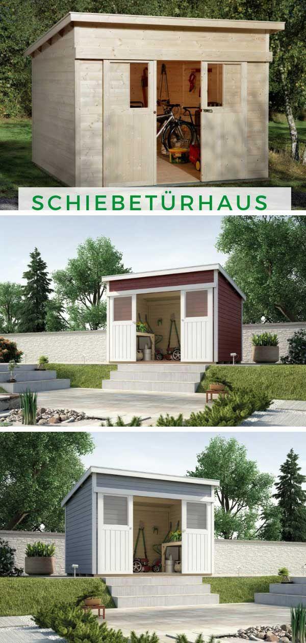 Weka Schiebeturhaus 225 Gr 1 21 Mm Gartenhaus Modern Gartenhaus Pultdach Gartenhaus