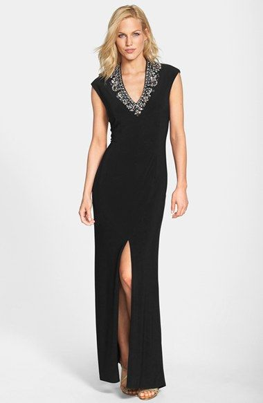 Vince Camuto Embellished V-Neck Gown available at #Nordstrom