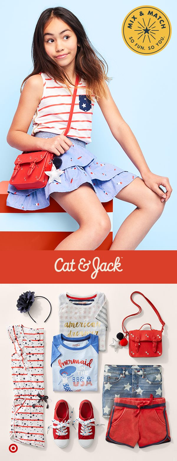 The Cat & Jack Americana collection has tons of cute girls' clothes for everything from parade day to watching the 4th of July fireworks. With swimwear, accessories, shorts and rompers, there's a way to mix and match some red, white and blue into any outfit. And, it's all backed by a 1 year guarantee, so you know these clothes will keep up with all her summer plans.