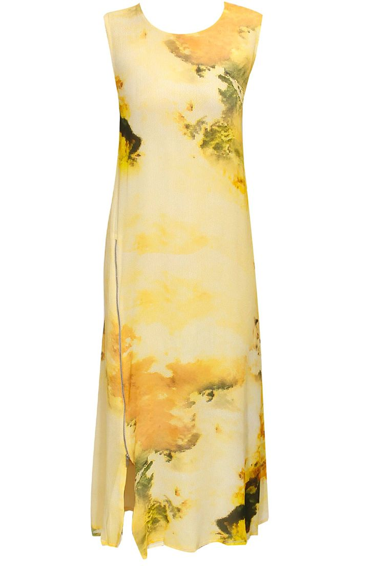 Yellow and green abstract printed tunic by Varun Bahl. Shop now: http://www.perniaspopupshop.com/designers/varun-bahl #tunic #varunbahl #shopnow #perniaspopupshop
