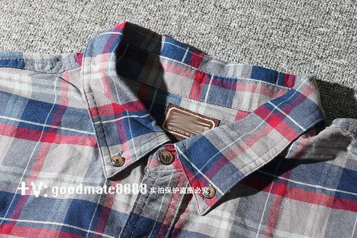 Дешевый благосостояния плюс удобрения для увеличения мужской большой размер 16 осень хлопка с длинными рукавами клетчатую рубашку вскользь рубашки M Чокнутый - Taobao