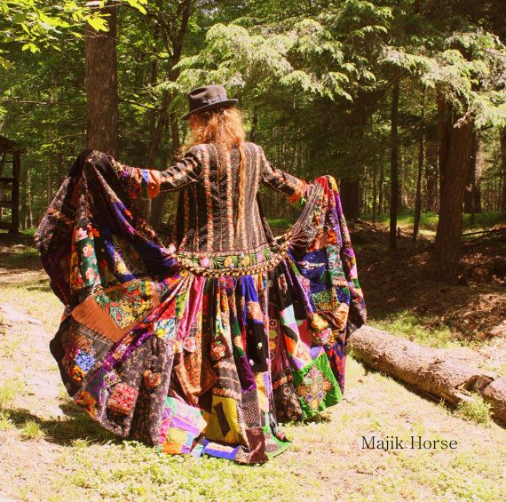 WAITING LIST Made to Order Vintage Hippie Gypsy FairyTale Dress Coat Embroidered Patchwork Velvet Majik Horse