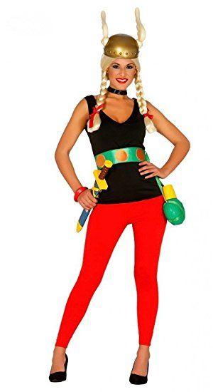 Kostüm Gürtel Gallier Hose Inklusive Helm Comic Asterix Top Damen e9H2YEIWD