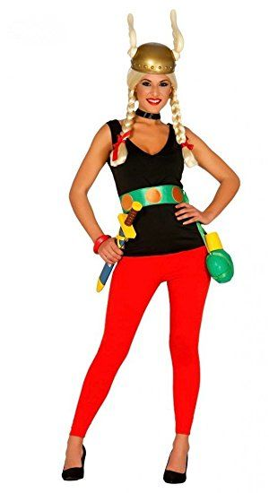 Asterix Damen Kostum Inklusive Helm Gallier Hose Top Gurtel Comic