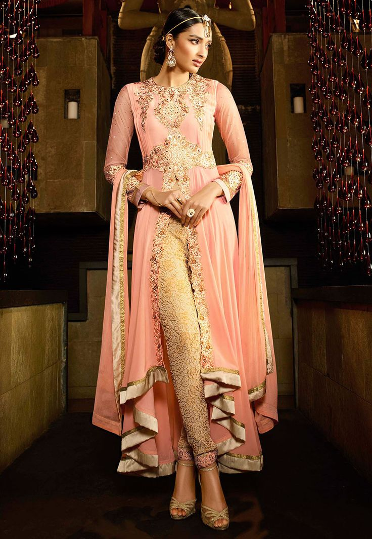 Embroidered Georgette Asymmetric Front Slit Anarkali Suit in Peach