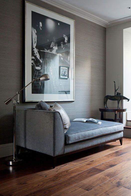 desire to inspire - desiretoinspire.net - Staffan Tollgardextra - grasscloth wallpaper, chaise
