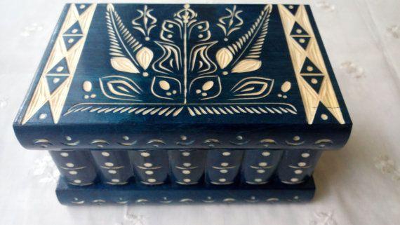 Neue große blaue hölzerne Schmuck Kasten magische Box überraschen Kasten aus Holz Puzzle Feld geheime Feld knifflige Schmuckstück Feld Handcarved Feld versteckte Speicherfach