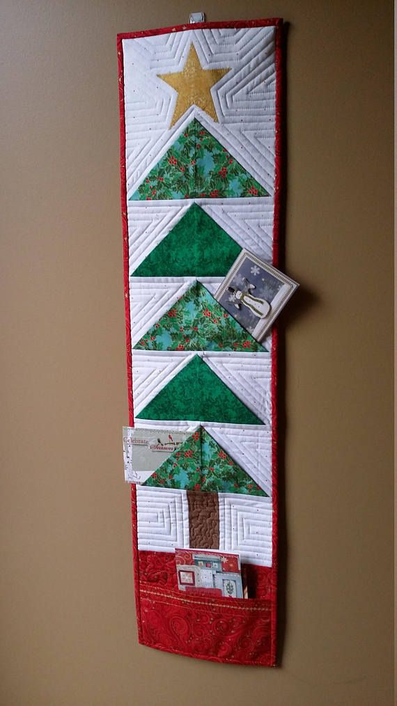 Quilted Christmas tree wallhanging card holder green red