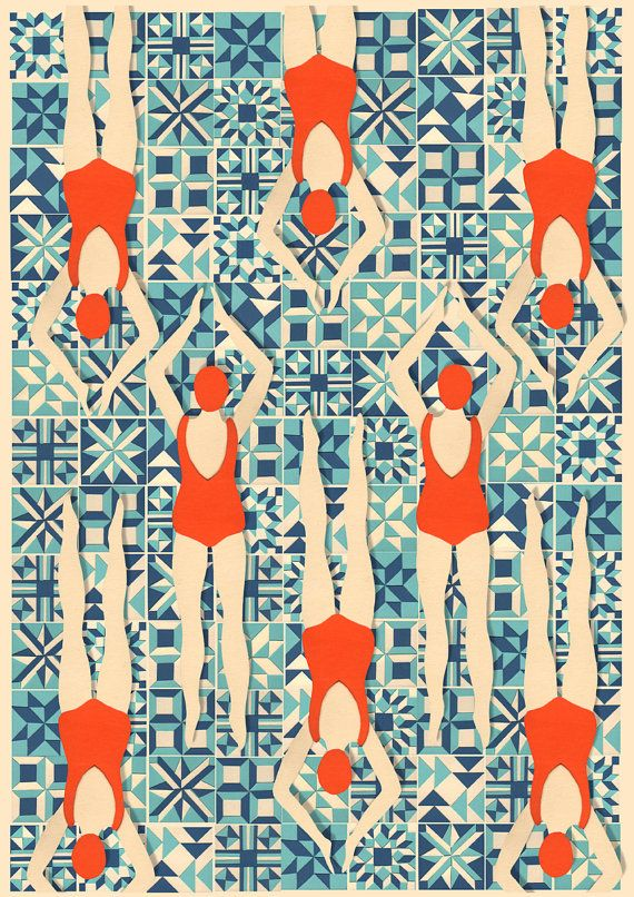 Papercut Pattern of Swimmers, Art Nouveau Style Print
