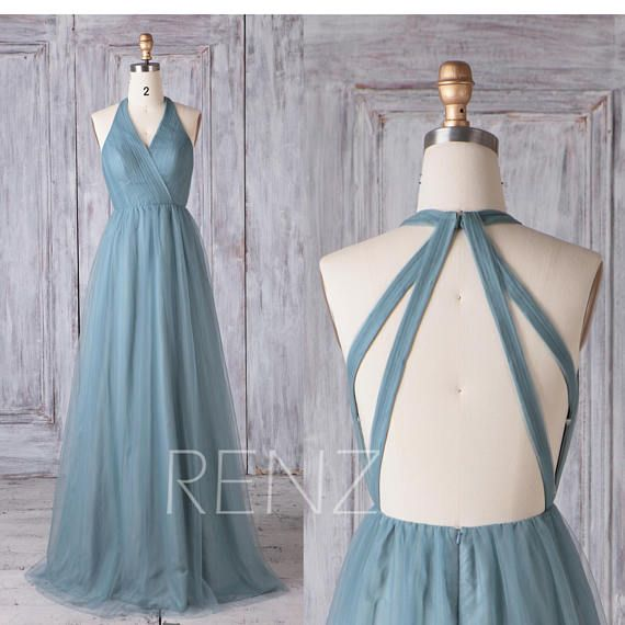 Bridesmaid Dress Dusty Blue Tulle Dress Wedding Dress Open Back Party Dress V Neck Sleeveless Maxi Dress Halter A-Line Evening Dress(LS432) – Abiball