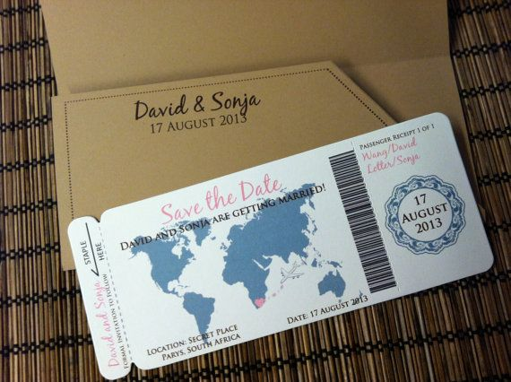Love Travels Boarding Pass Invitation or Save the Date Deposit
