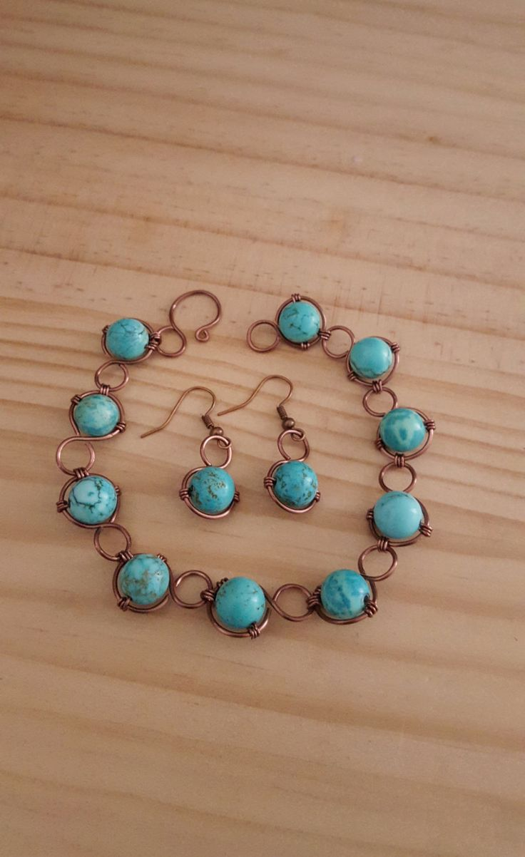 Turquoise Coloured Magnesite Handmade Bracelet and Earring Set. One of a Kind. Genuine Gemstone by JomiLoves on Etsy