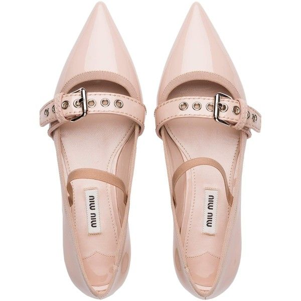 Miu Miu BALLERINA featuring polyvore, women's fashion, shoes, flats, strappy ballet flats, mary jane shoes, mary-jane shoes, strappy flats and patent leather ballet flats