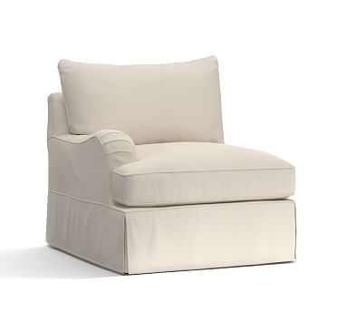PB Comfort English Arm Slipcovered Left Arm Chair, Knife Edge Down Blend Wrapped Cushions, Twill Cream