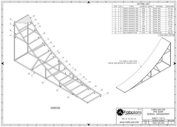 Professionally designed and engineered fabrication plans for - bill of material