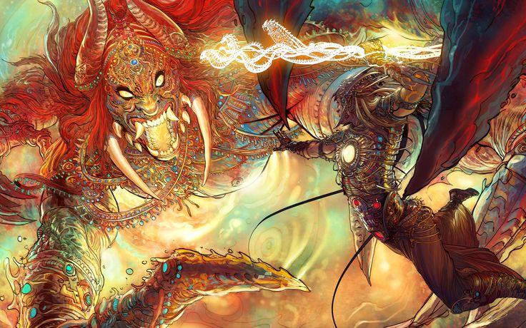 "Karna fighting the half-demon Gatokacha, using the Shakti-weapon of Indra - Grant Morisson's ""18 DAYS""  Mahabharata project art by Mukesh Singh http://nisachar.cgsociety.org | http://www.liquidcomics.com/wallpapers.html#"