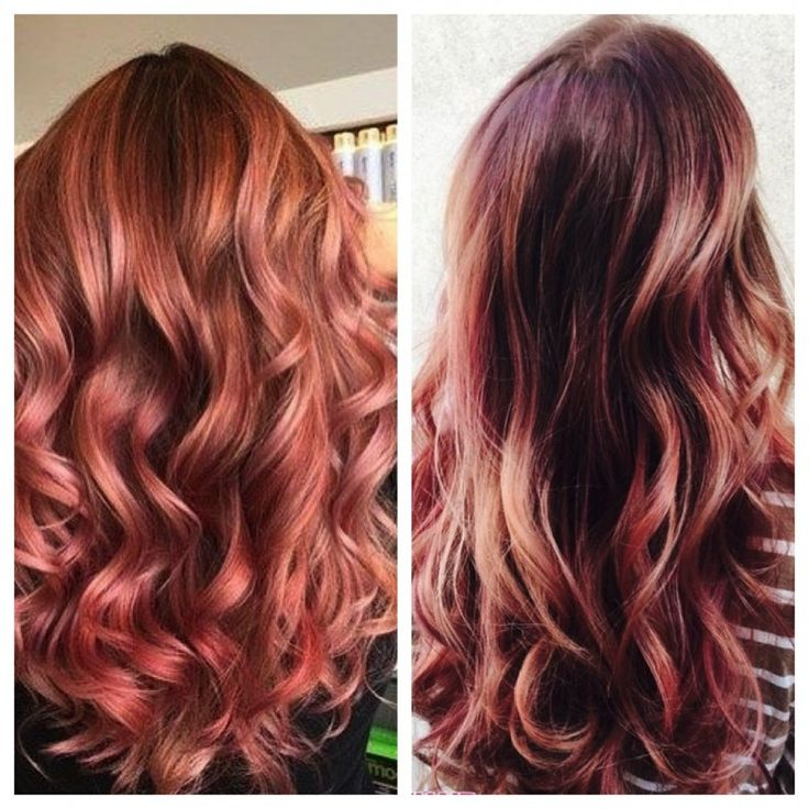 Rose Gold Copper Hair   Hair Color Inspiration and Formulation: Copper Rose Gold   StyleNoted