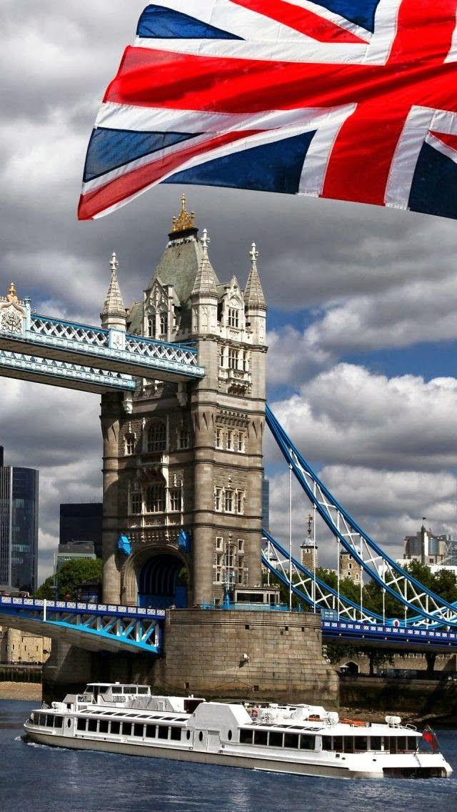 LONDON: Tower Bridge with Old Glory