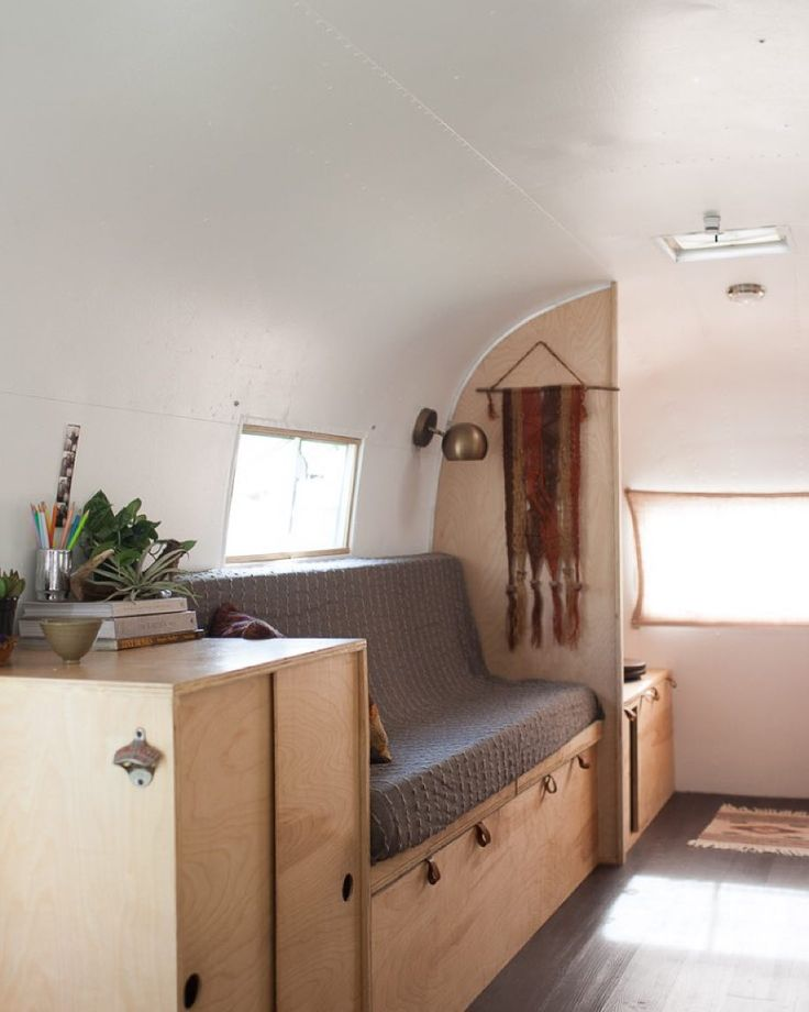 The @birchandpine Airstream is getting better and better! Check out Kate & Ellen's website for more photos of the coffee nook kitchen and sleeping area  by airstream_dreams