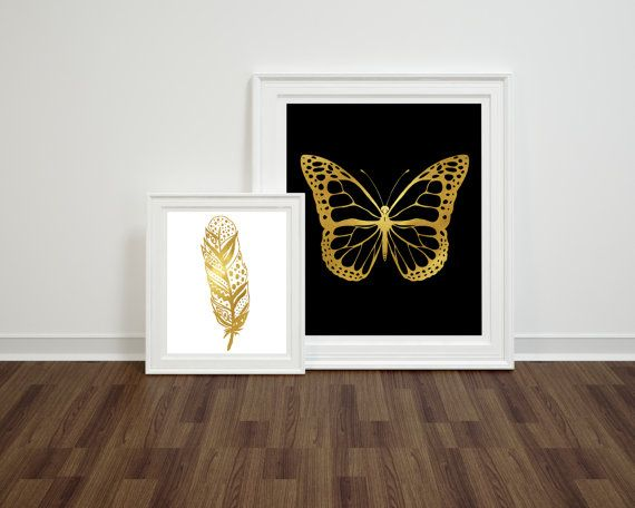 Butterfly Gold Foil Print Modern Minimalist Poster Instant Download