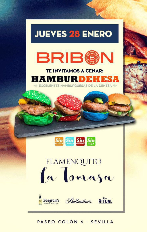 En Sala Bribón, en Paseo Colón / Sevilla, nuevo evento con Hamburdehesa como protagonista. Flamenquito con la Tomasa, buen ambiente junto al río Guadalquivir, y degustaciones de nuestras hamburguesas.