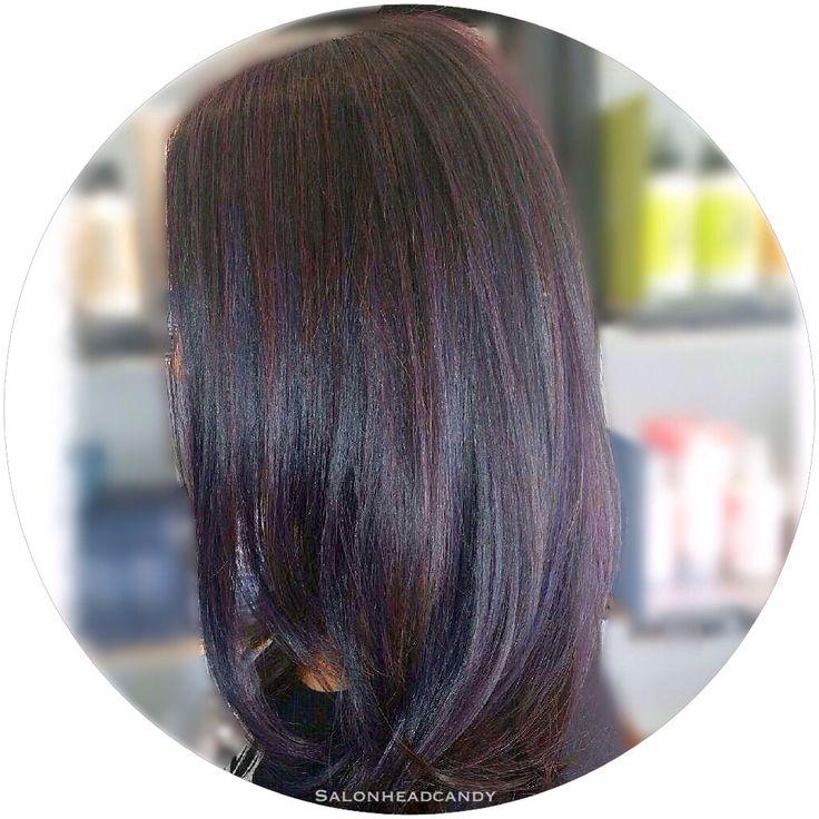 Beautiful deep plum with dimensional orchid and dark plum highlights on shiny healthy hair! Dark hair can have fun too! #salonheadcandy #plumhair #darkhairdontcare #camdencountynj