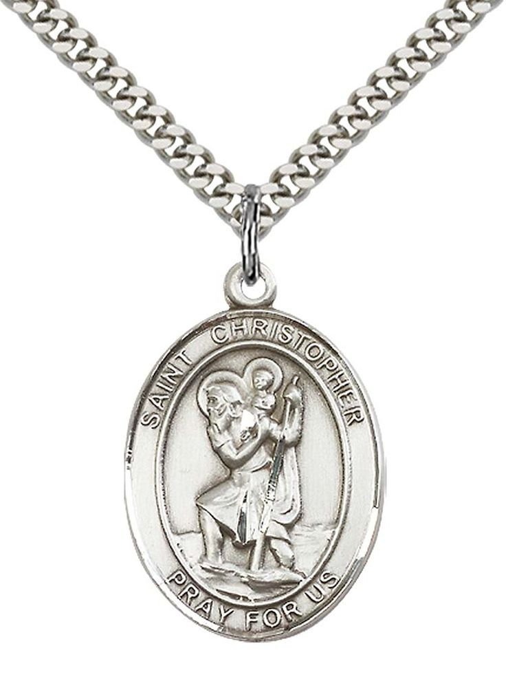 Sterling Silver St. Christopher Pendant with 24' Stainless Silver Heavy Curb Chain. Patron Saint of Travellers/Motorists