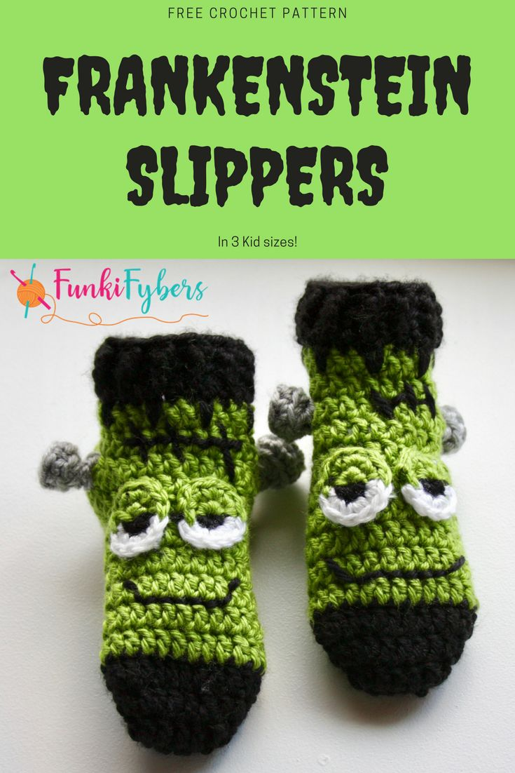 These Frankenstein slippers are great for halloween, with 3 kid sizes, they are quick to make up.  Free crochet pattern.