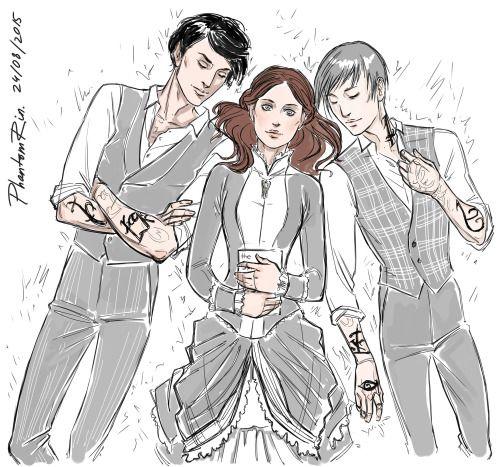 "Will, Tessa, Jemreading""the Clockwork Angel"" by Cassandra Clare)))"
