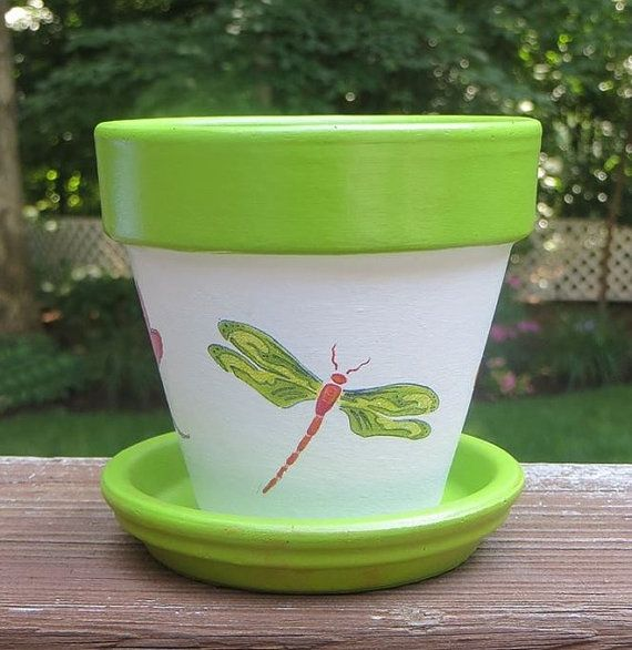 dragonfly painted flower pot  four inch  terra cotta