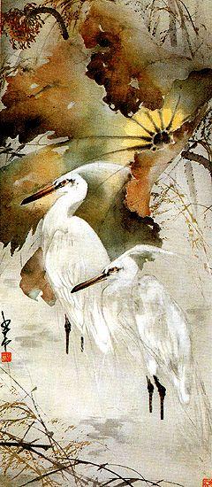 Herons, lotus - by Chao ShaoAng (1905 - 1998), China. Lingnan School.