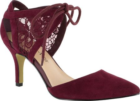 Women's Bella Vita Demi Two Piece Pump - Burgundy Kid Suede with FREE Shipping & Exchanges. The Bella Vita Demi Two Piece Pump puts a modern spin on a classic design with lace detailing and a