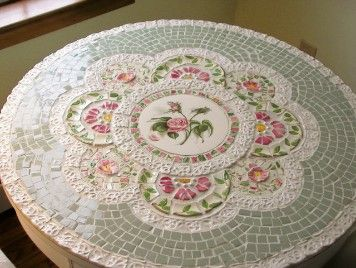 Mosaic table w/ Desert Rose dishes