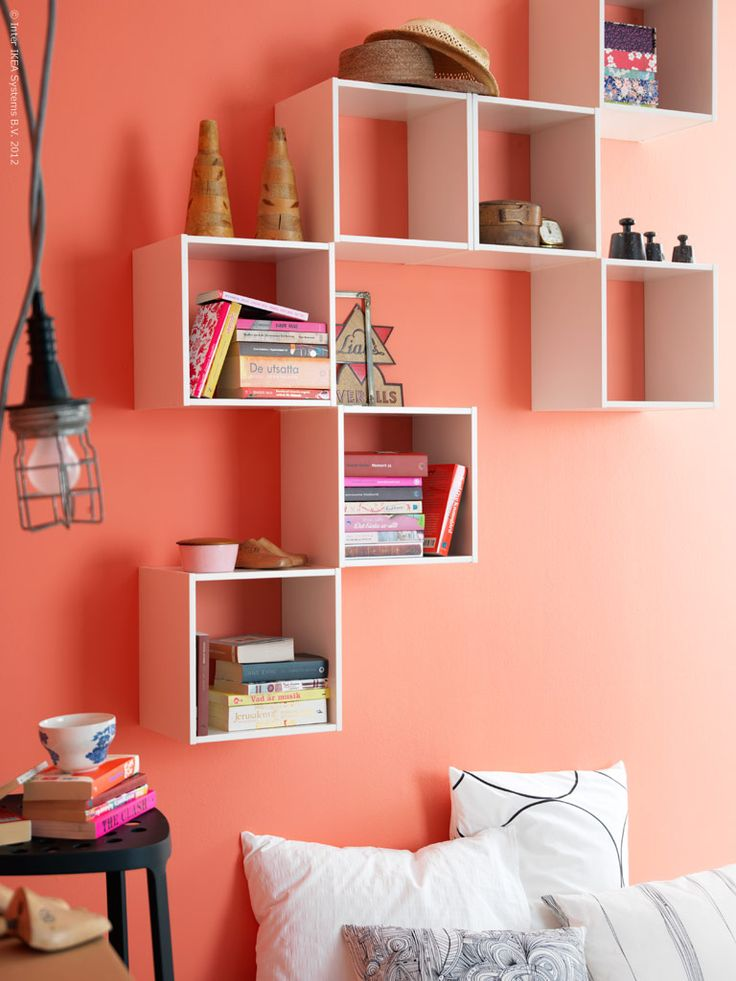I love the idea of putting box-frames in the room - store the stuff and a shelf all in one!