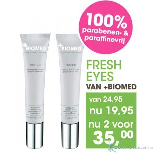 30% korting Biomed Fresh Eyes 2x15 ml Super voordeelverpakking nu 2 stuks voor de prijs van €34.95  De natuurlijke vervanging voor cosmetische oogchirurgie! Zeg gedag tegen vermoeide ogen, rimpels en wallen. http://www.gezondheidswebwinkel.nl/30-korting-biomed-fresh-eyes-2x15-ml.html