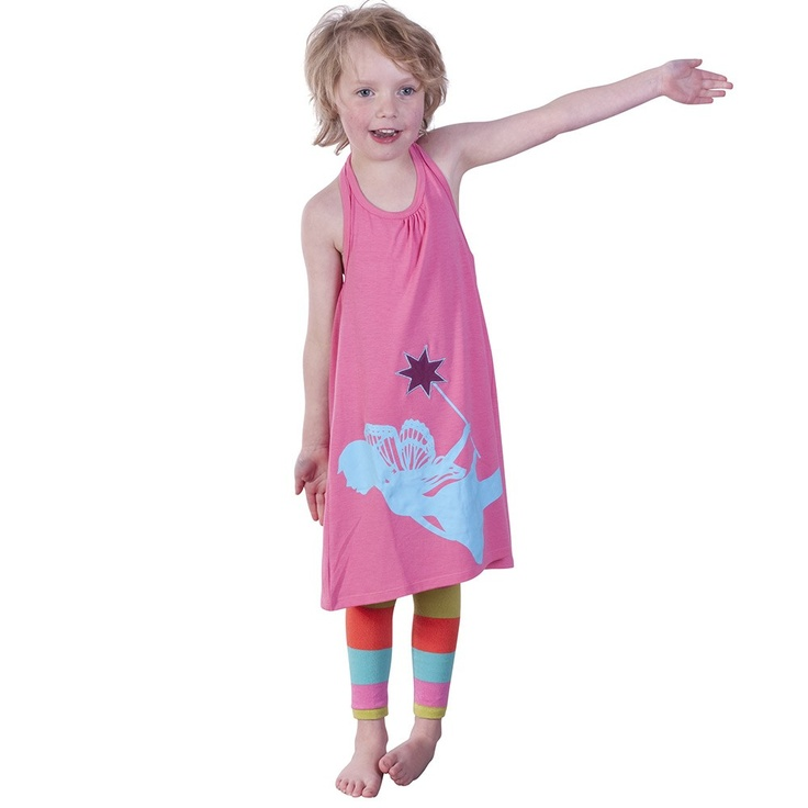 Pink Halter Neck Dress with Fairy Print and Applique Star