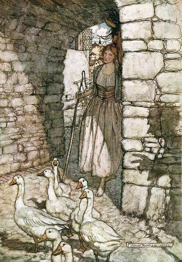 "From 'The Goosegirl'. ""Grimm's Fairy Tales"" illustrated by Arthur Rackham, 1909"